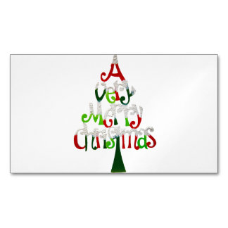 Very Merry Christmas Tree Magnetic Business Card
