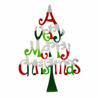 Very Merry Christmas Tree Photo Sculpture Magnet