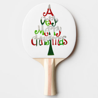 Very Merry Christmas Tree Ping Pong Paddle
