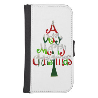 Very Merry Christmas Tree Samsung S4 Wallet Case