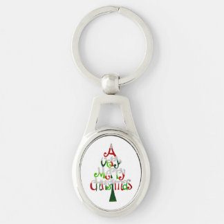 Very Merry Christmas Tree Silver-Colored Oval Key Ring