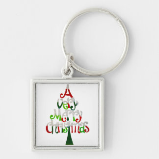 Very Merry Christmas Tree Silver-Colored Square Key Ring