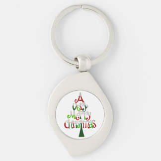 Very Merry Christmas Tree Silver-Colored Swirl Key Ring