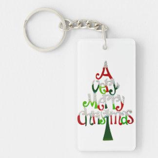 Very Merry Christmas Tree Single-Sided Rectangular Acrylic Key Ring
