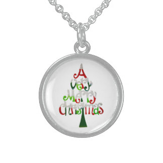 Very Merry Christmas Tree Sterling Silver Necklace