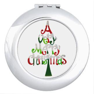 Very Merry Christmas Tree Travel Mirrors