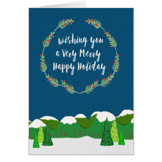 Very Merry Snowy Holiday Greeting Card