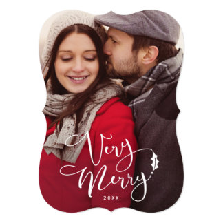 Very Merry White Script Christmas Photo Cards