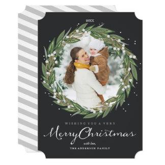 Very Merry Wreath, christmas photo card 13 Cm X 18 Cm Invitation Card
