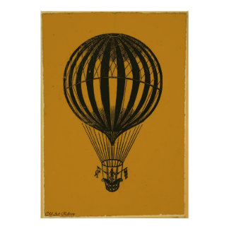 Very Old Hot Air Balloon Pencil Drawing Poster
