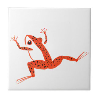 Very Orange Frog Small Square Tile