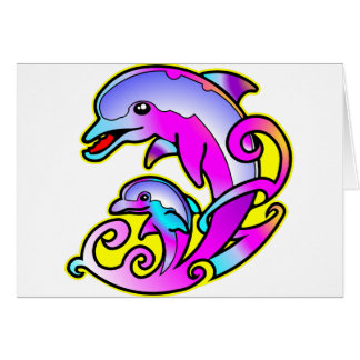 Very Pretty Mother & Calf Dolphins Card
