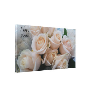 Very Romantic White Roses Wrapped Canvas for Her