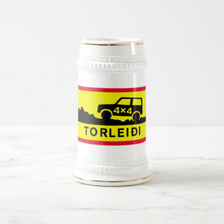 Very Rough Track, Traffic Sign, Iceland Beer Stein