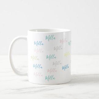 very simple & pale pattern of handwritten names coffee mug