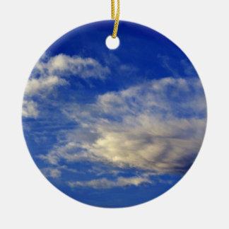 Very structured cloud in a beautiful blue sky ceramic ornament