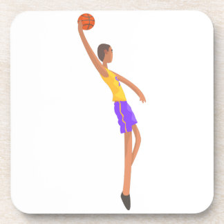 Very Tall Basketball Player Action Sticker Coaster