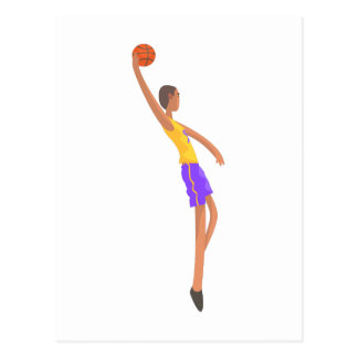 Very Tall Basketball Player Action Sticker Postcard