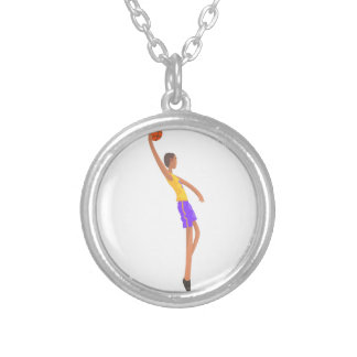 Very Tall Basketball Player Action Sticker Silver Plated Necklace