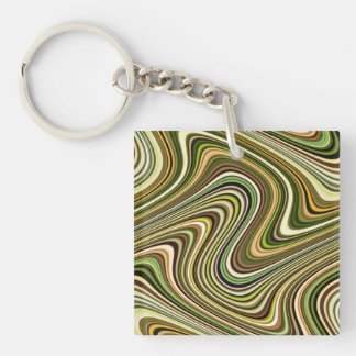 Very Unique Multi-Color Curvy Line Pattern Key Ring