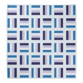 Very Unique Square Pattern - Blue Navy Blue White Bandana