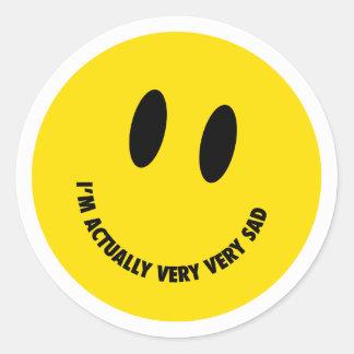 Very very sad round sticker