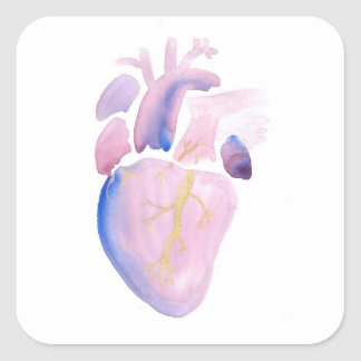 Very Violet Heart Square Sticker