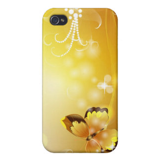 Very Yellow, Butterfly and Bubbles iPhone 4 Case