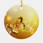 Very Yellow, Butterfly and Bubbles Round Ceramic Decoration