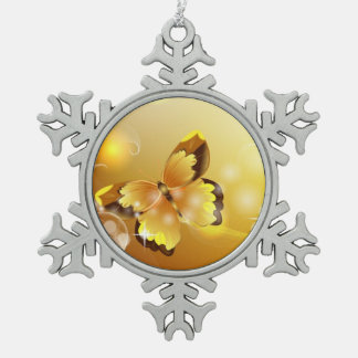 Very Yellow, Butterfly and Bubbles Snowflake Pewter Christmas Ornament
