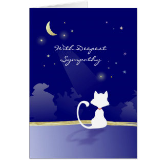 Vet & Business - Cat Sympathy Card - Moon & Stars