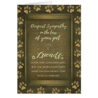 Vet & Business Sympathy Pet Brown Gold Card