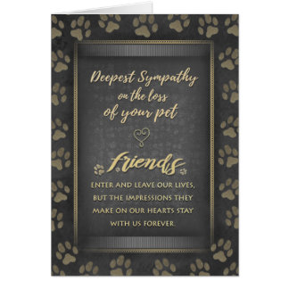 Vet & Business Sympathy Pet Loss Gold Card