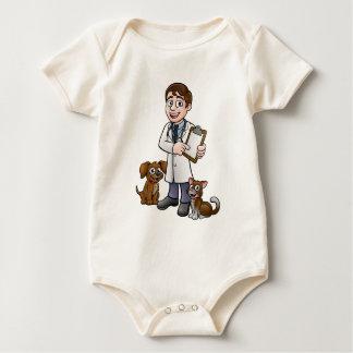Vet Cartoon Character Holding Clipboard Baby Bodysuit