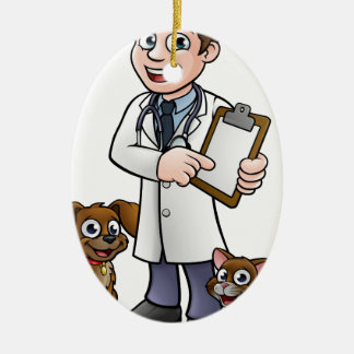 Vet Cartoon Character Holding Clipboard Ceramic Ornament