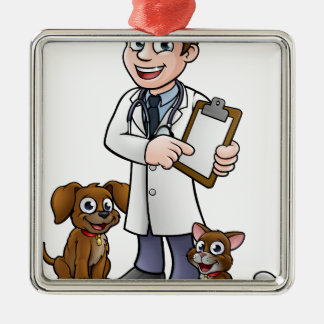 Vet Cartoon Character Holding Clipboard Metal Ornament