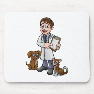 Vet Cartoon Character Holding Clipboard Mouse Pad