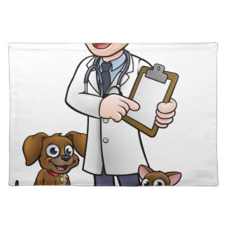 Vet Cartoon Character Holding Clipboard Placemat