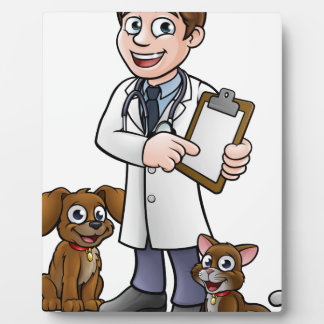 Vet Cartoon Character Holding Clipboard Plaque