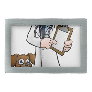 Vet Cartoon Character Holding Clipboard Rectangular Belt Buckle