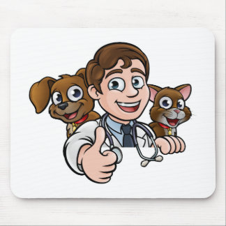 Vet Cartoon Character Thumbs Up Sign Mouse Pad