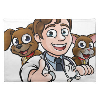 Vet Cartoon Character Thumbs Up Sign Placemat