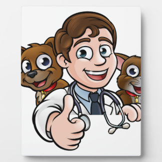 Vet Cartoon Character Thumbs Up Sign Plaque