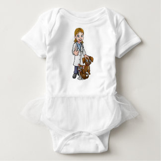 Vet Cartoon Character with Pet Cat and Dog Baby Bodysuit