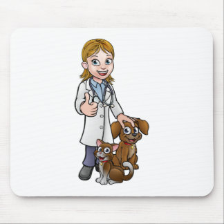 Vet Cartoon Character with Pet Cat and Dog Mouse Pad