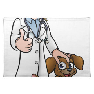 Vet Cartoon Character with Pet Cat and Dog Placemat