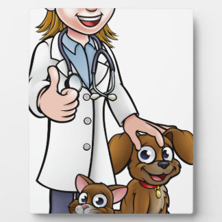 Vet Cartoon Character with Pet Cat and Dog Plaque