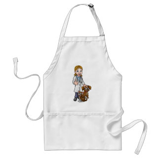Vet Cartoon Character with Pet Cat and Dog Standard Apron
