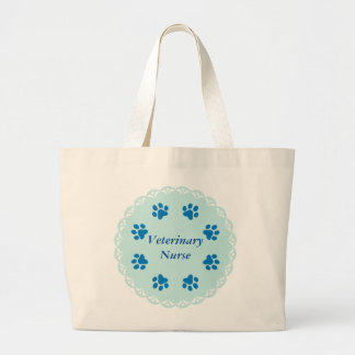 Vet Nurse Blue Lace 8 With Blue Paw Prints #2 Jumbo Tote Bag