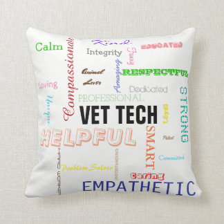 Vet Tech Gift Attributes Traits Bright Typography Cushion